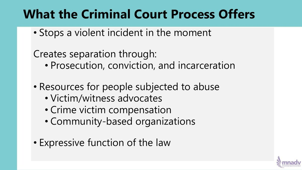 What the Criminal Court Process Offers • Stops ...