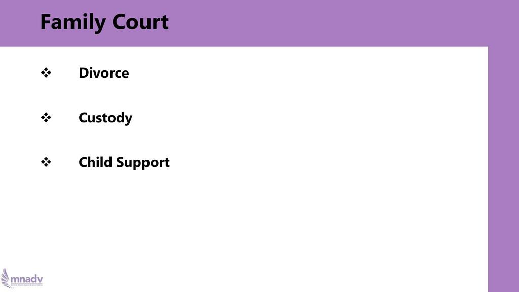 Family Court ❖ Divorce ❖ Custody ❖ Child Support