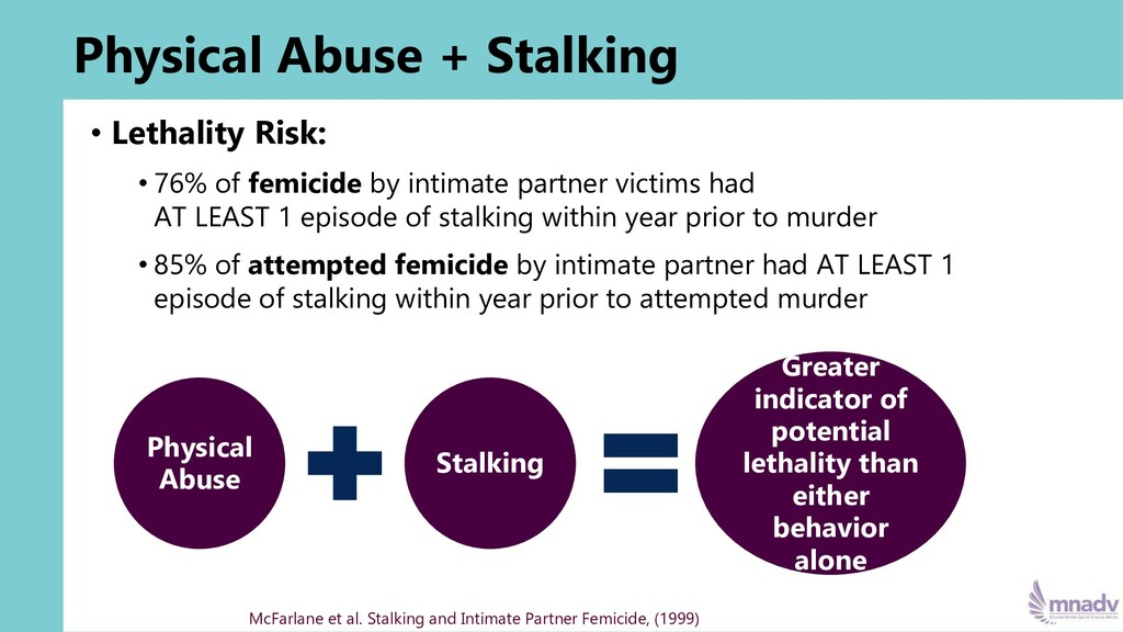 Physical Abuse + Stalking • Lethality Risk: • 7...