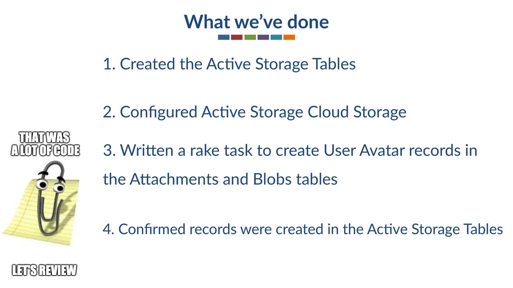What we've done 2. Configured AcSve Storage Clou...