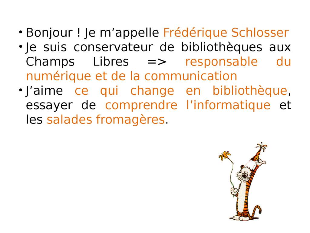 • Bonjour ! Je m'appelle Frédérique Schlosser •...