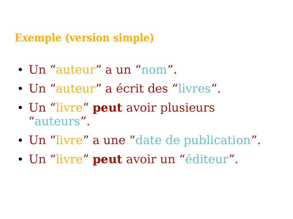"""Exemple (version simple) ● Un """"auteur"""" a un """"no..."""