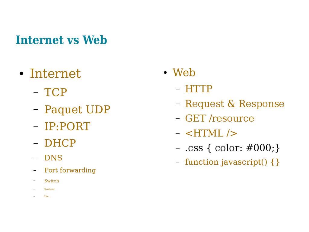 Internet vs Web ● Internet – TCP – Paquet UDP –...