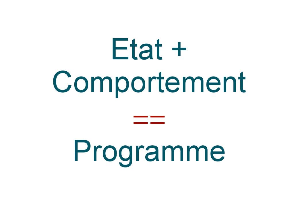 Etat + Comportement == Programme