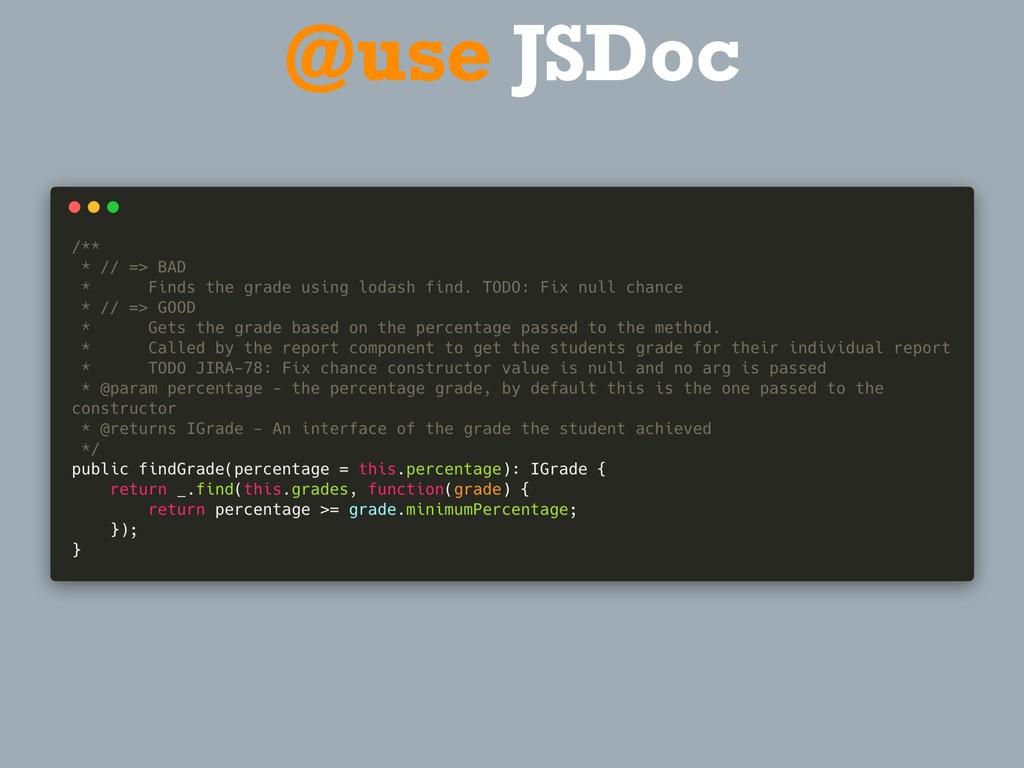 @use JSDoc