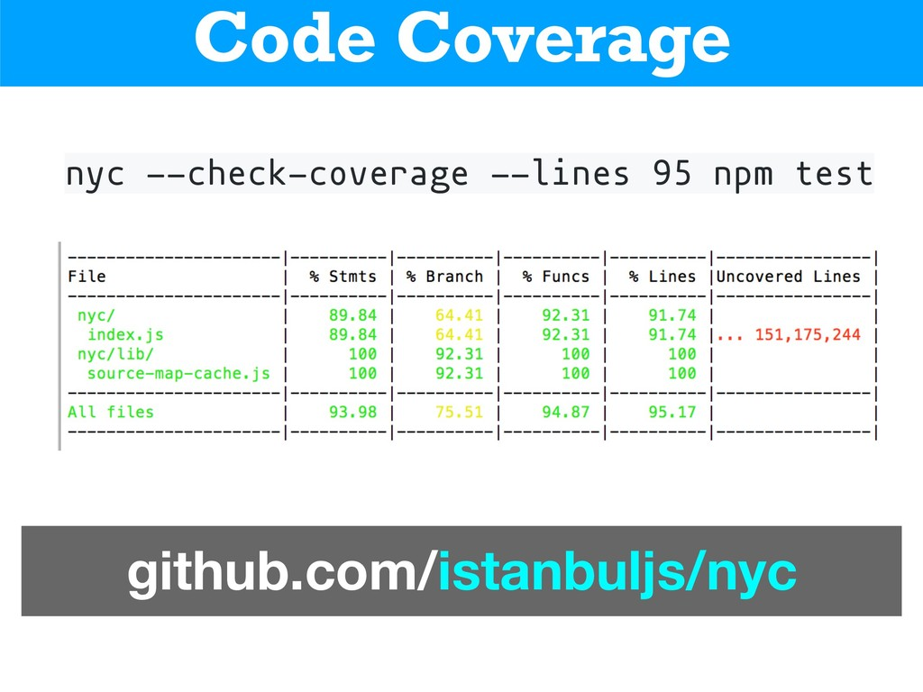 nyc --check-coverage --lines 95 npm test Code C...