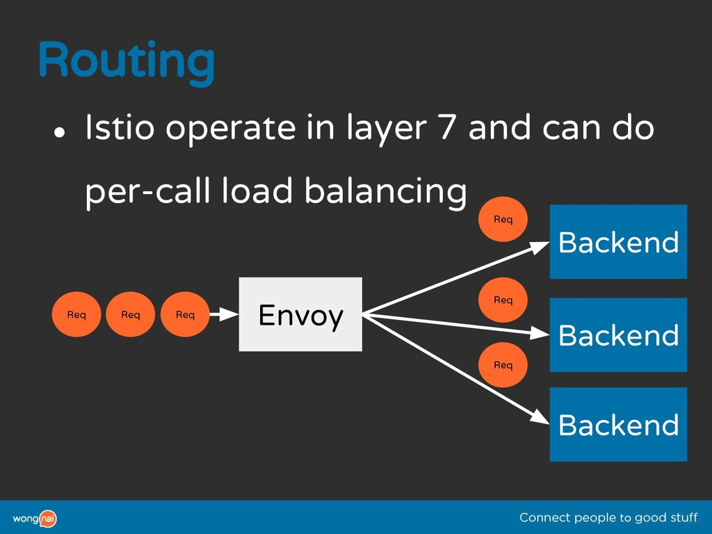 Routing ● Istio operate in layer 7 and can do p...