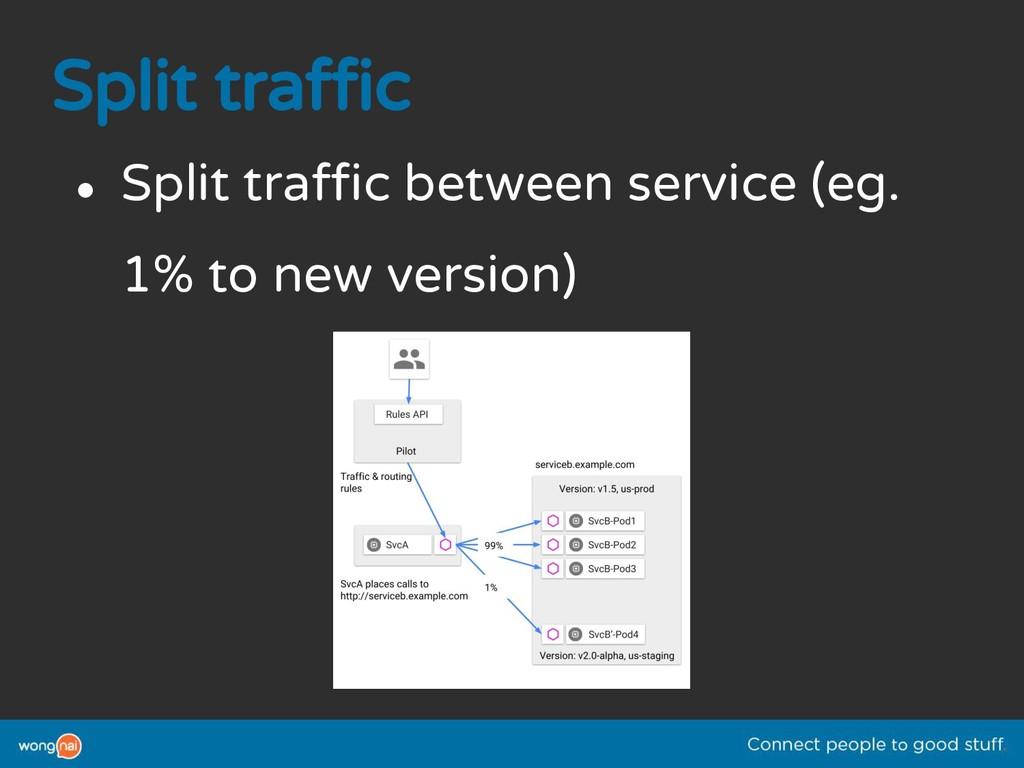 Split traffic ● Split traffic between service (...