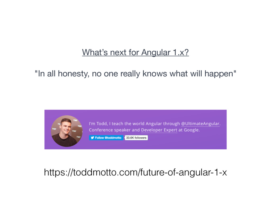 """What's next for Angular 1.x?  """"In all honesty, ..."""