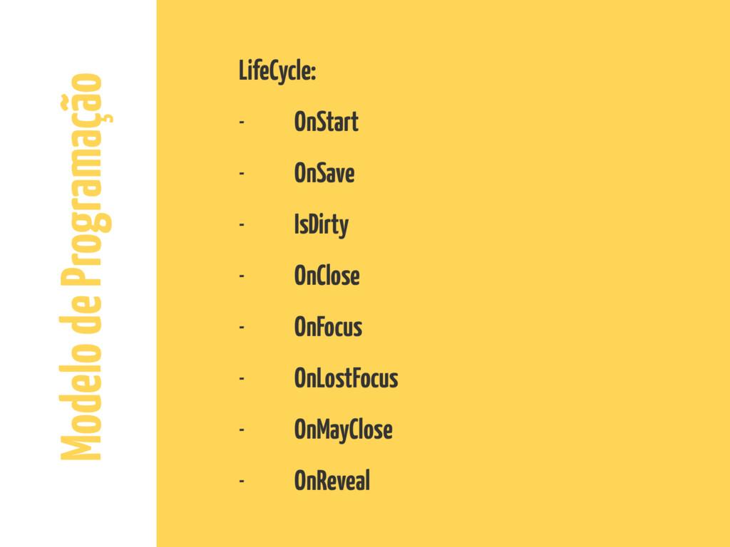 Modelo de Programação LifeCycle: - OnStart - On...