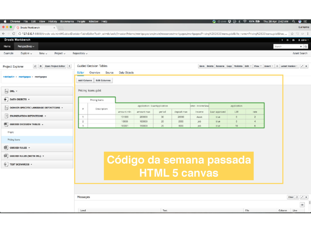 Código da semana passada HTML 5 canvas