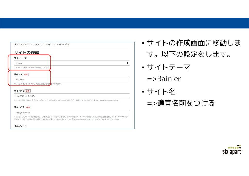 • サイトの作成画面に移動しま す。以下の設定をします。 • サイトテーマ =>Rainier...