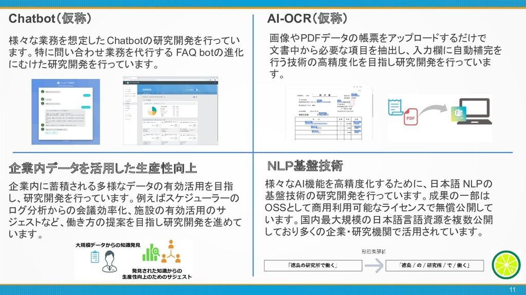Chatbot(仮称) AI-OCR(仮称) 様々な業務を想定した Chatbotの研究開発を...