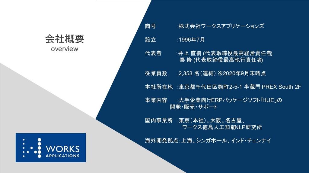 商号 :株式会社ワークスアプリケーションズ 設立 :1996年7月 代表者 :井上 直樹 (代...