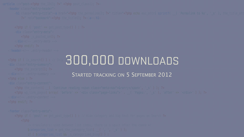 300,000 DOWNLOADS STARTED TRACKING ON 5 SEPTEMB...