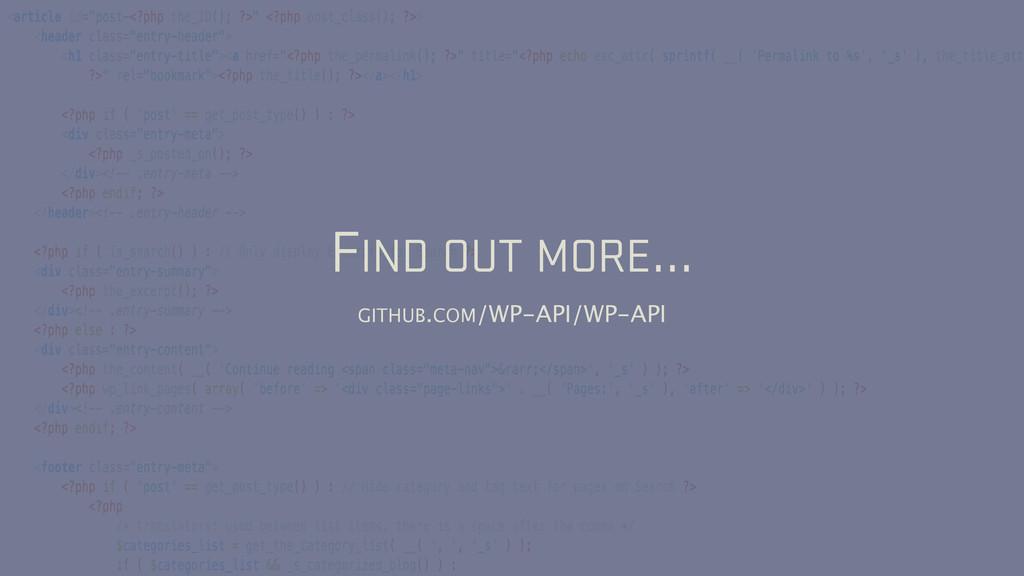 FIND OUT MORE… GITHUB.COM/WP-API/WP-API