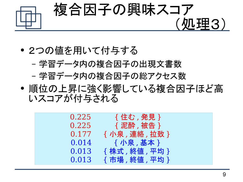 9  複合因子の興味スコア (処理3) ● 2つの値を用いて付与する – 学習データ内の複合因...