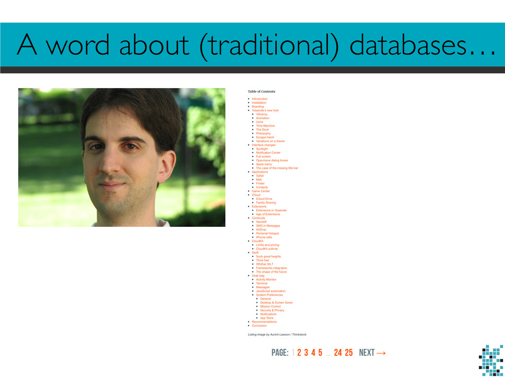 A word about (traditional) databases…