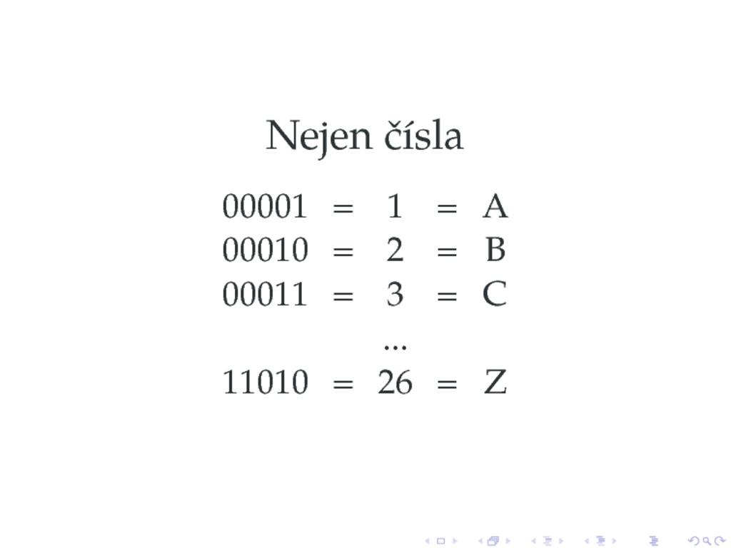 Nejen čísla 00001 = 1 = A 00010 = 2 = B 00011 =...