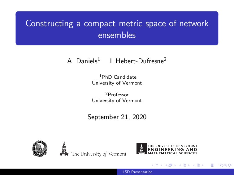 Constructing a compact metric space of network ...