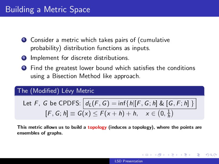 Building a Metric Space 1 Consider a metric whi...