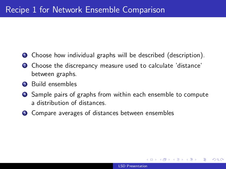 Recipe 1 for Network Ensemble Comparison 1 Choo...