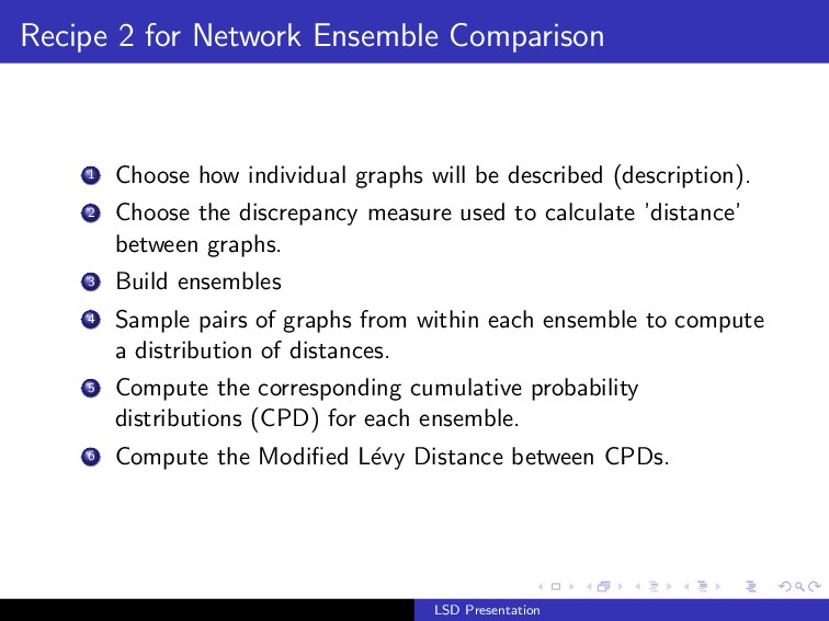Recipe 2 for Network Ensemble Comparison 1 Choo...