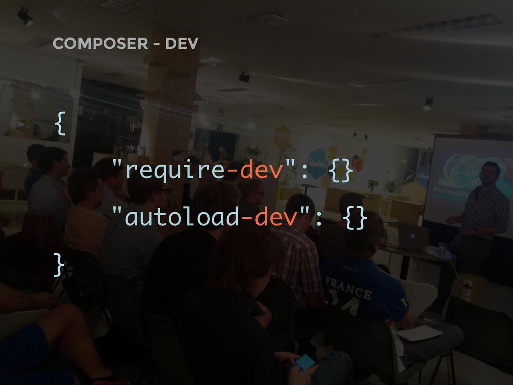 "COMPOSER - DEV { ""require-dev"": {} ""autoload-de..."