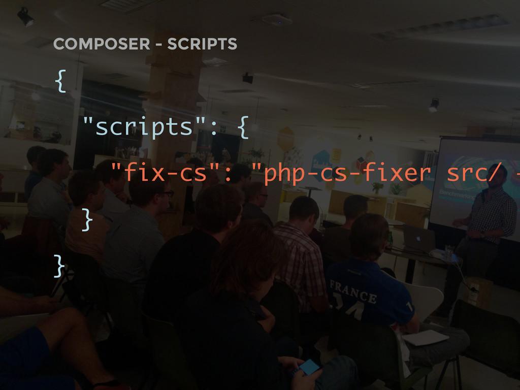 """COMPOSER - SCRIPTS { """"scripts"""": { """"fix-cs"""": """"ph..."""