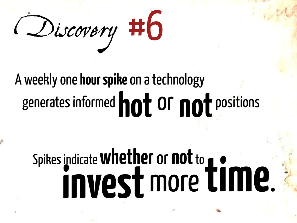 Discovery #6 A weekly one hour spike on a techn...