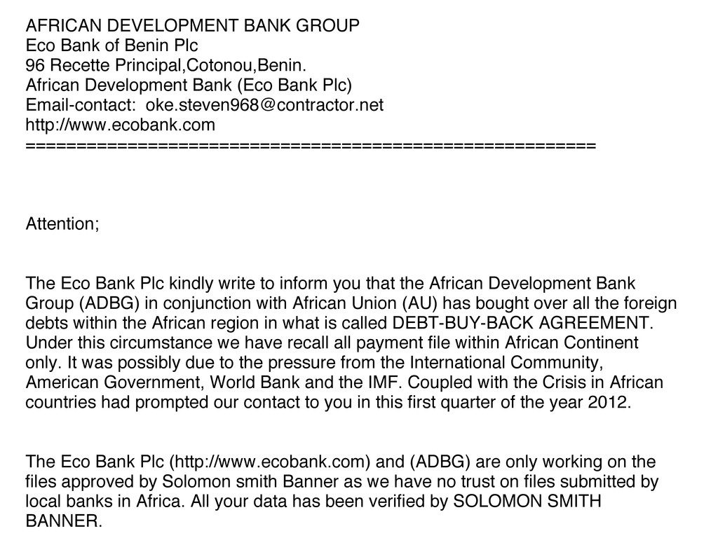 AFRICAN DEVELOPMENT BANK GROUP Eco Bank of Beni...