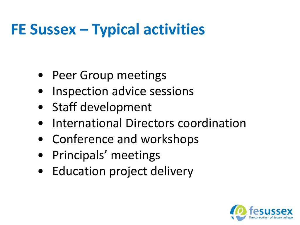 FE Sussex – Typical activities • Peer Group mee...