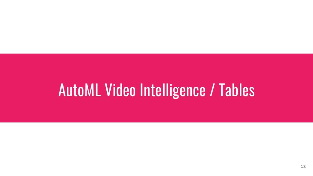 AutoML Video Intelligence / Tables 13