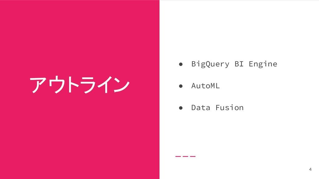 アウトライン ● BigQuery BI Engine ● AutoML ● Data Fus...
