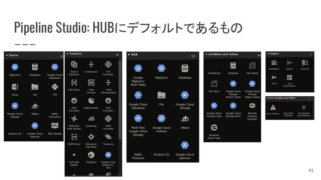 Pipeline Studio: HUBにデフォルトであるもの 41