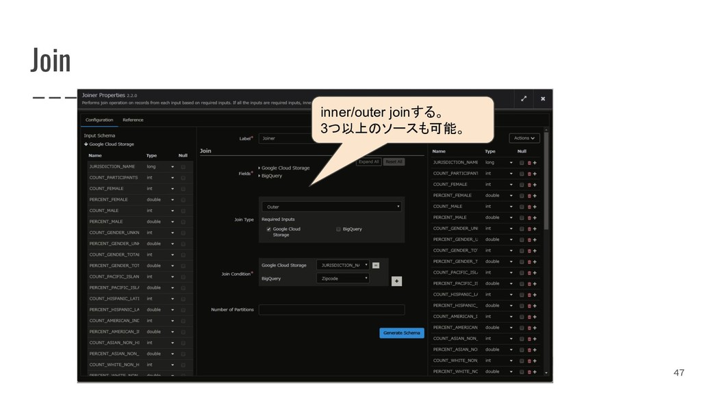 Join 47 inner/outer joinする。 3つ以上のソースも可能。