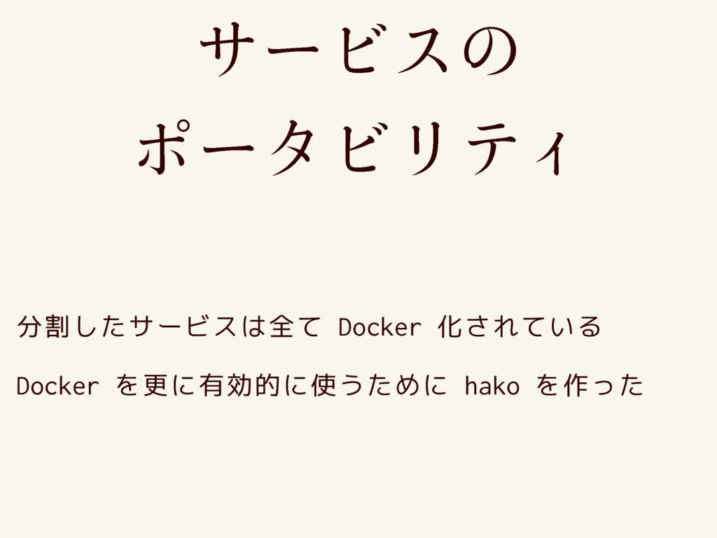 쎿썗쏝쏃쎅 쏧썗쏉쏝쏴쏐쎭 分割したサービスは全て Docker 化されている Docker...
