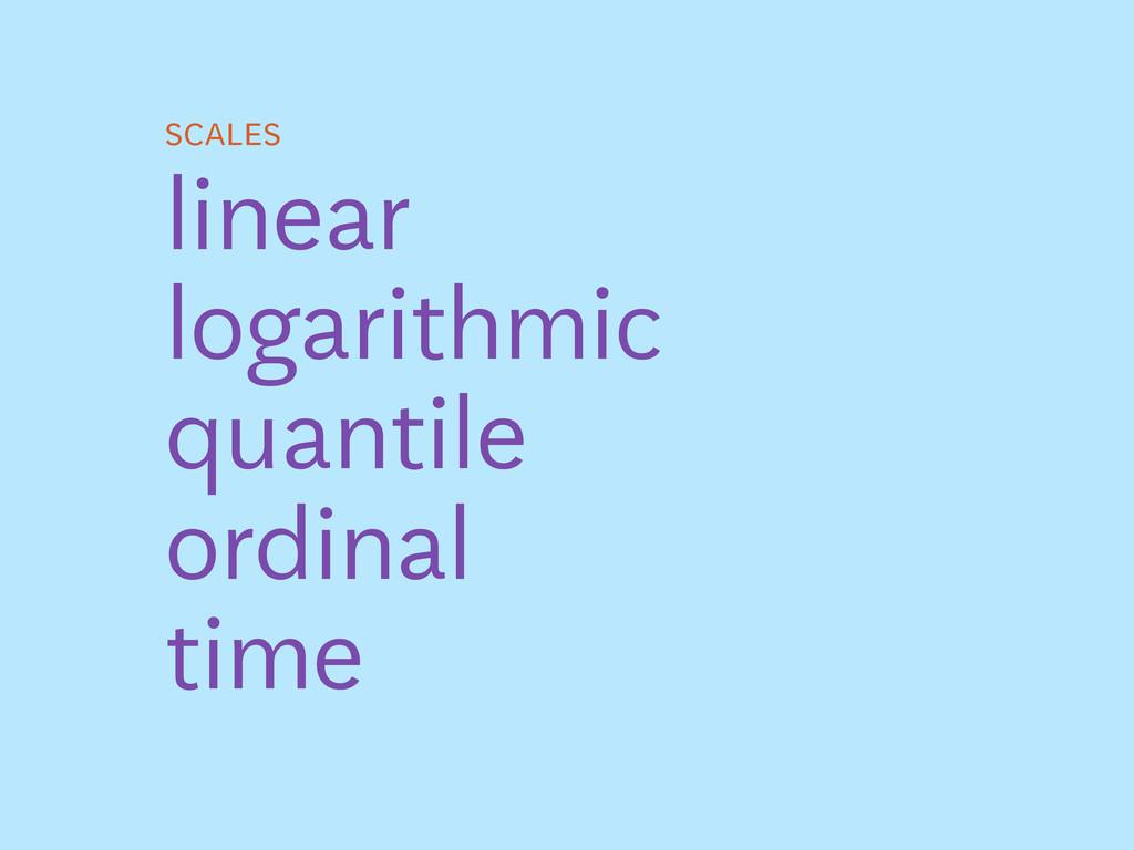scales linear logarithmic quantile ordinal time