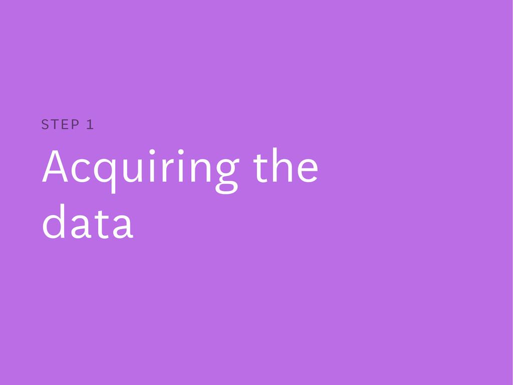 Acquiring the data STEP 1