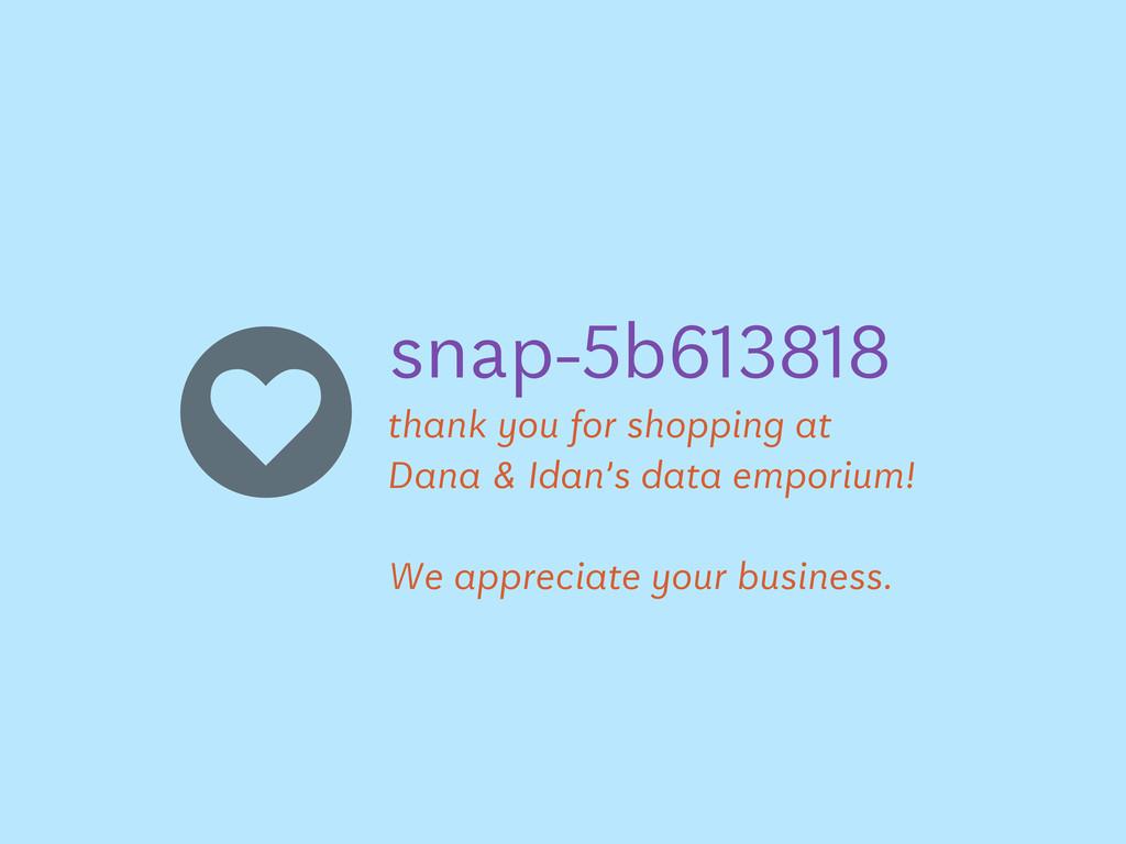 "snap-!b""#$%#% thank you for shopping at Dana & ..."