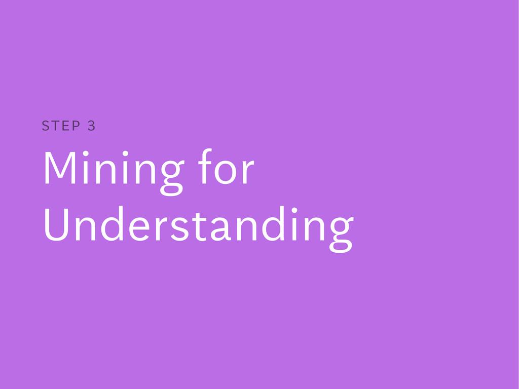 Mining for Understanding STEP 3