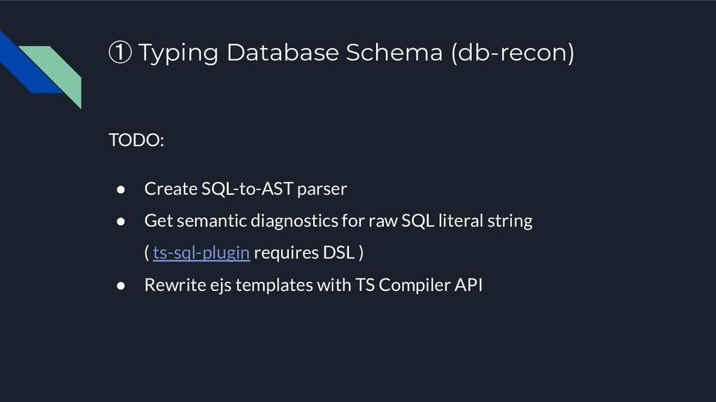 ① Typing Database Schema (db-recon) TODO: ● Cre...