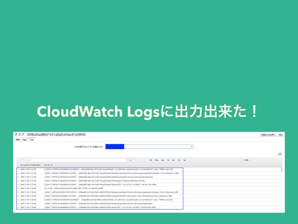 CloudWatch Logsʹग़ྗग़དྷͨʂ