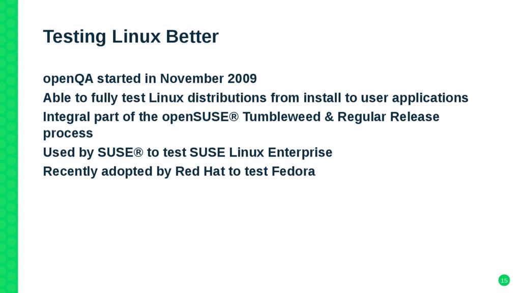 15 Testing Linux Better openQA started in Novem...