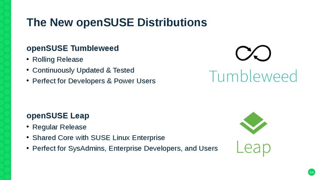 64 The New openSUSE Distributions openSUSE Tumb...
