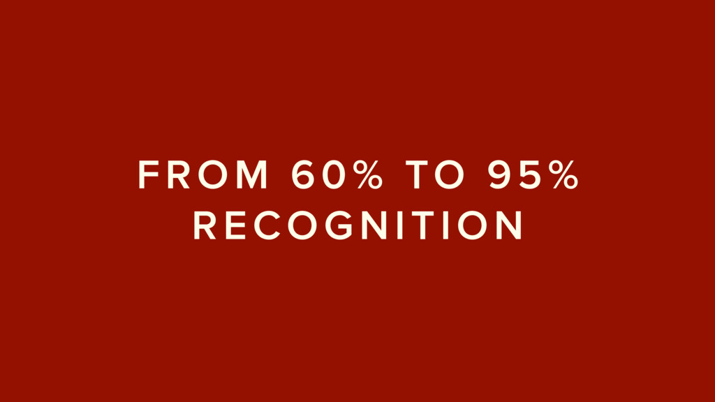 FROM 60% TO 95% RECOGNITION