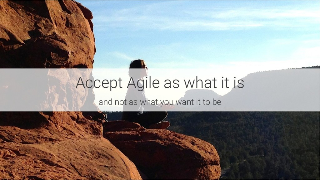 Accept Agile as what it is and not as what you ...