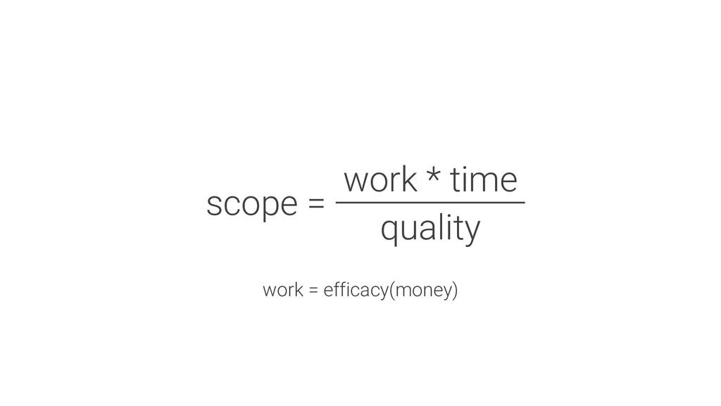 work = efficacy(money) scope = work * time qual...