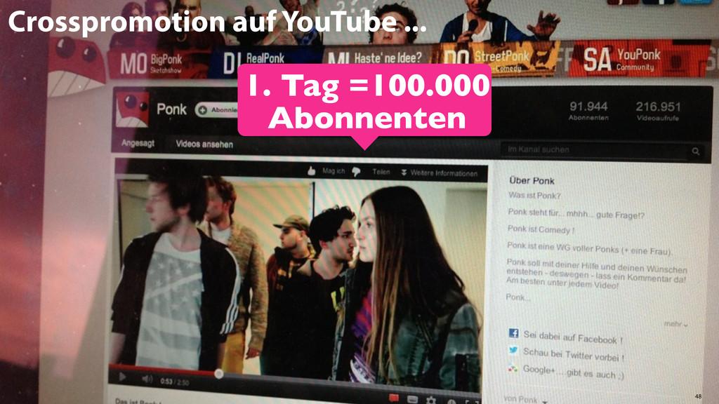 48 1. Tag =100.000 Abonnenten Crosspromotion au...