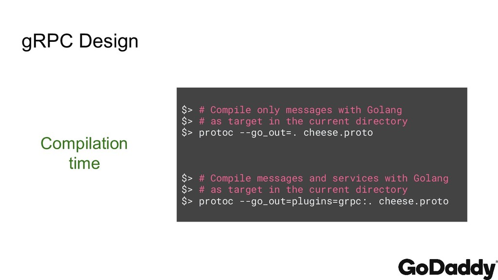 gRPC Design $> # Compile only messages with Gol...